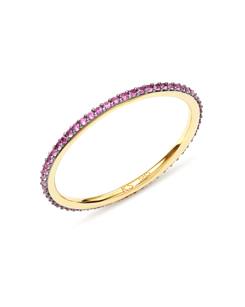 Angelina 14k Yellow Gold Band Ring in Pink Sapphire