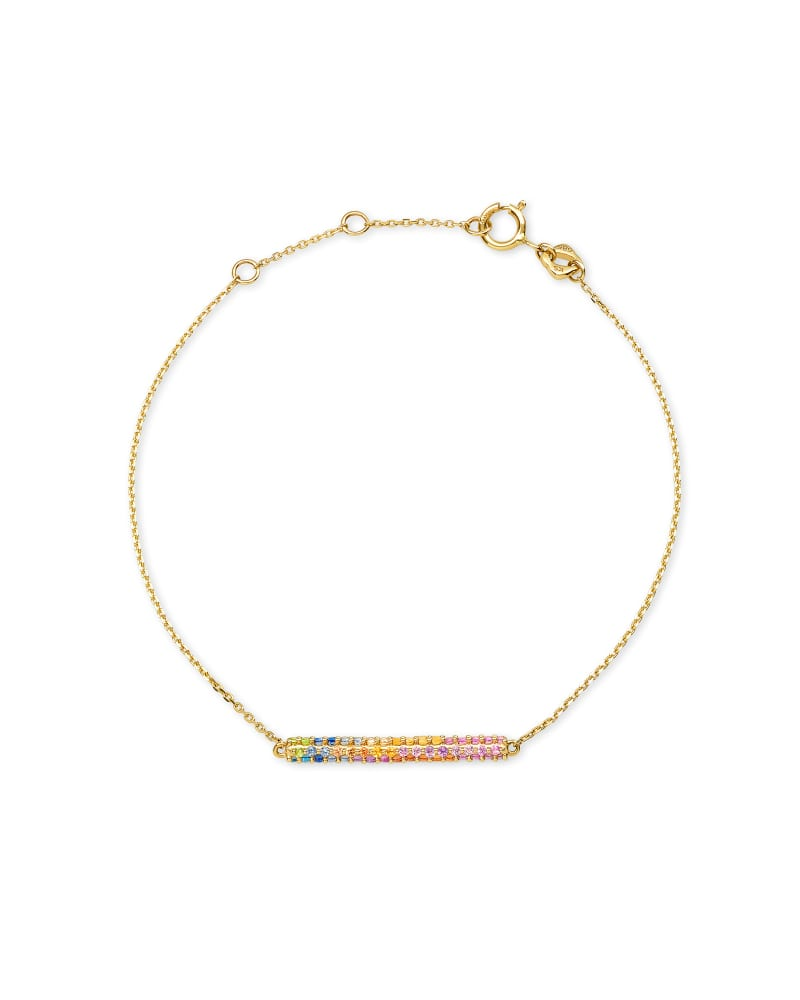 River 14k Yellow Gold Chain Bracelet in Multicolor