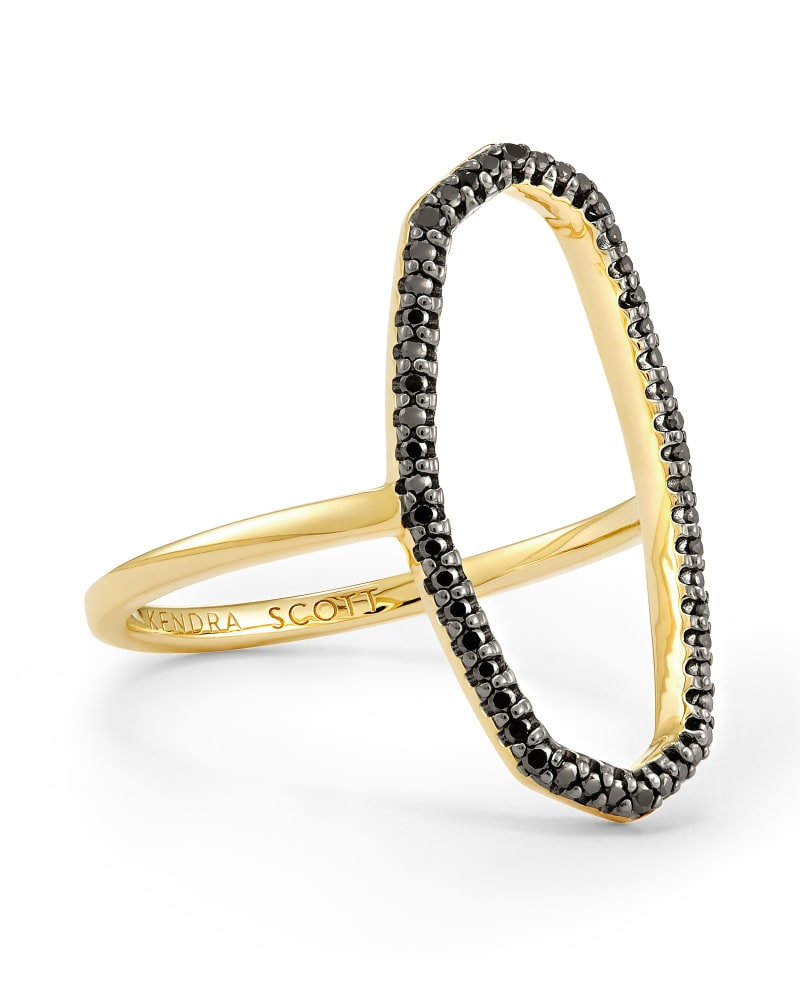 Dani 14k Yellow Gold Open Ring in Black Diamond