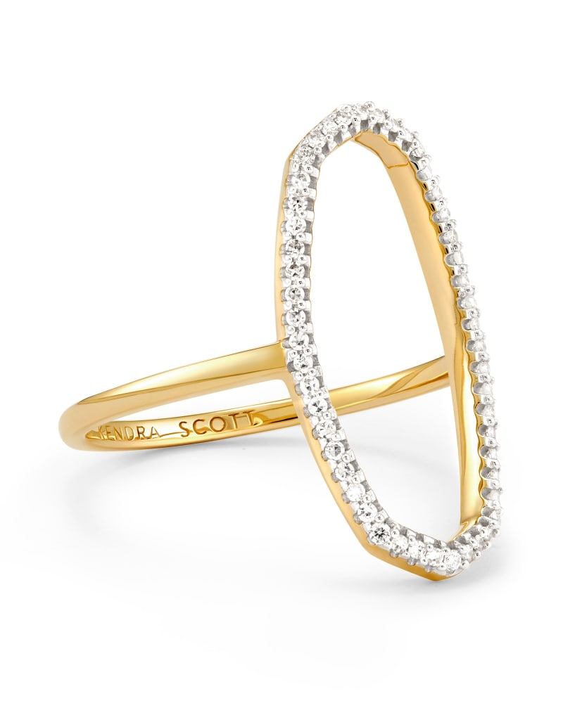 Dani 14k Yellow Gold Open Ring in White Diamond