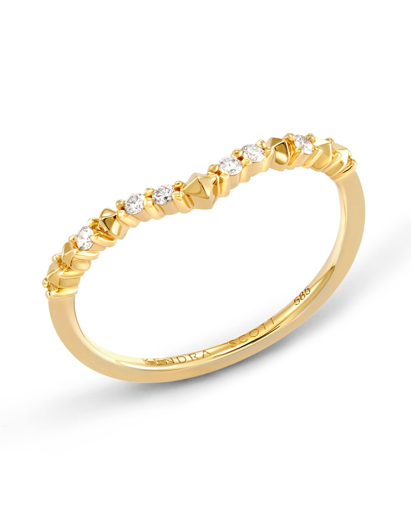 Jaclyn 14k Yellow Gold Band Ring in White Diamond