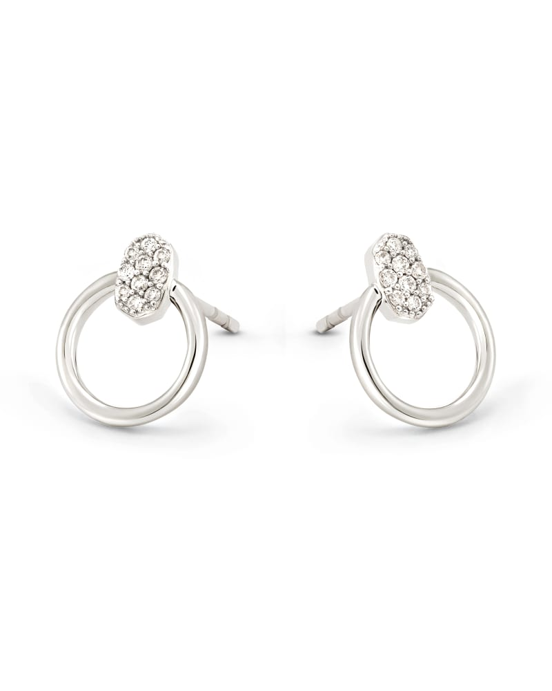 Tegan 14k White Gold Stud Earrings in White Diamond