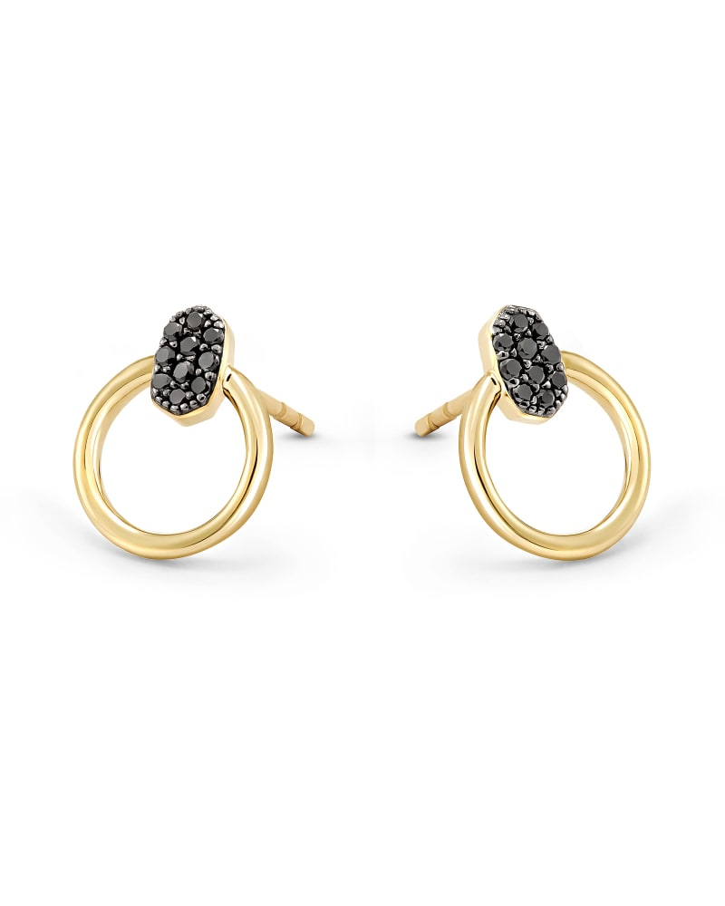 Tegan 14k Yellow Gold Stud Earrings in Black Diamond