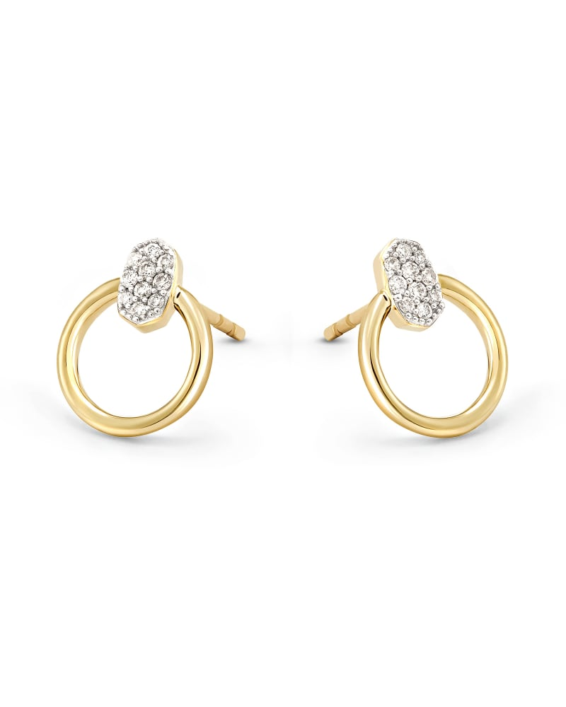 Tegan 14k Yellow Gold Stud Earrings in White Diamond