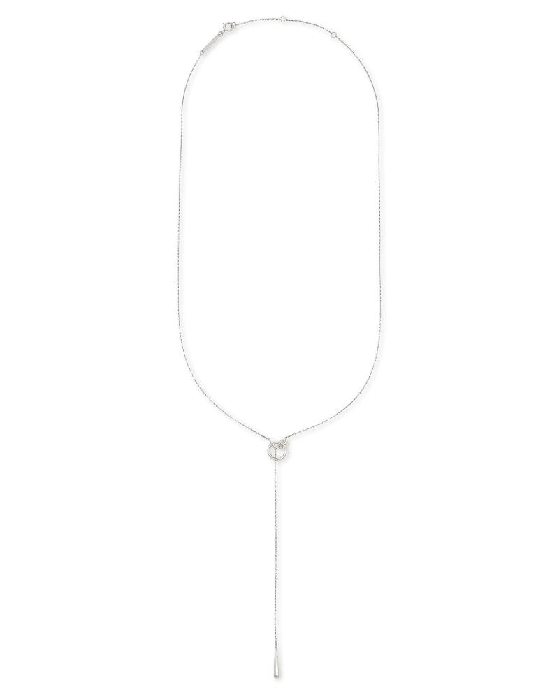 Tegan 14k White Gold Y Necklace in White Diamond