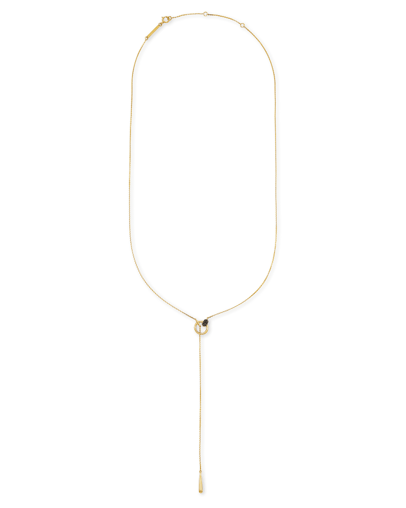 Tegan 14k Yellow Gold Y Necklace in Black Diamond