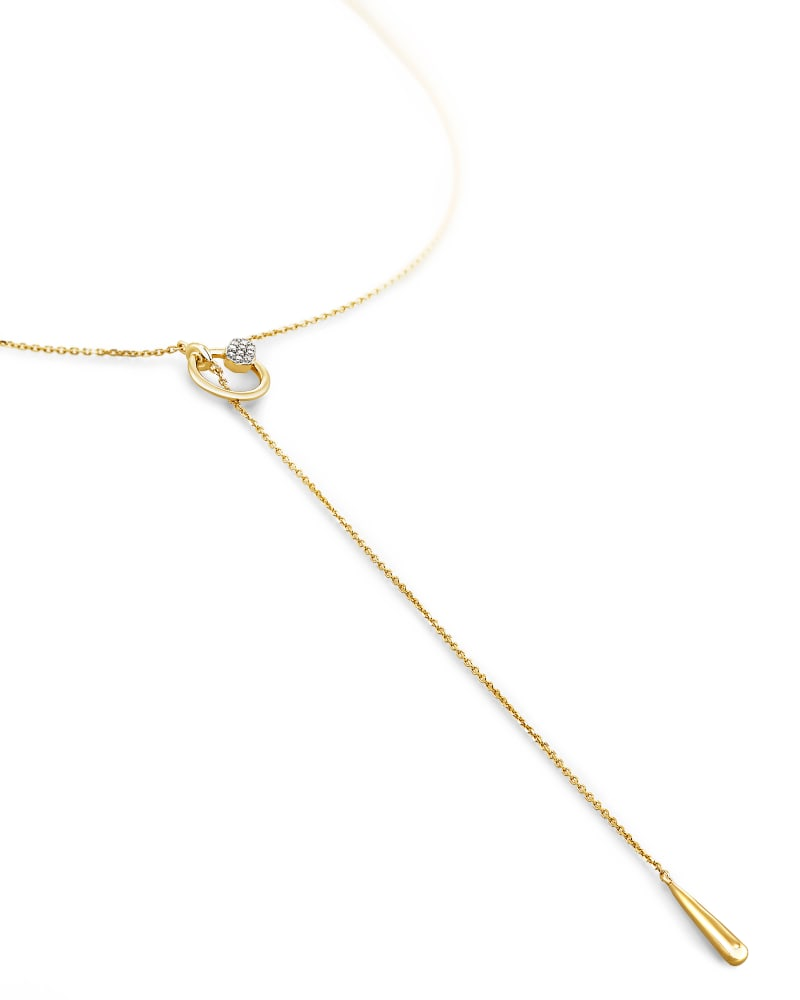 Tegan 14k Yellow Gold Y Necklace in White Diamond