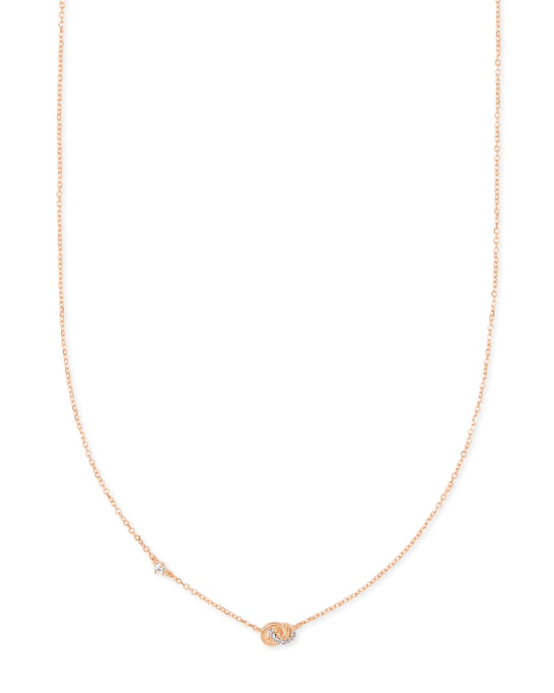 Love Knot 14K Rose Gold Short Pendant Necklace in White Diamond