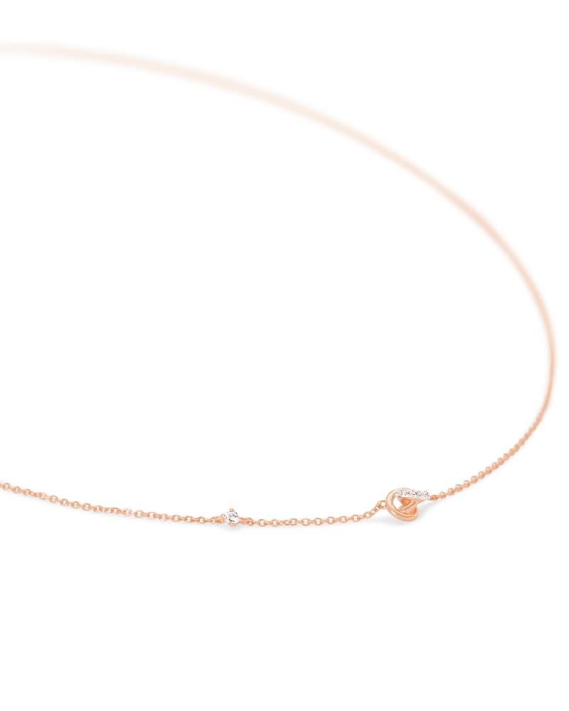 Love Knot 14K Rose Gold Short Pendant Necklace in White Diamond