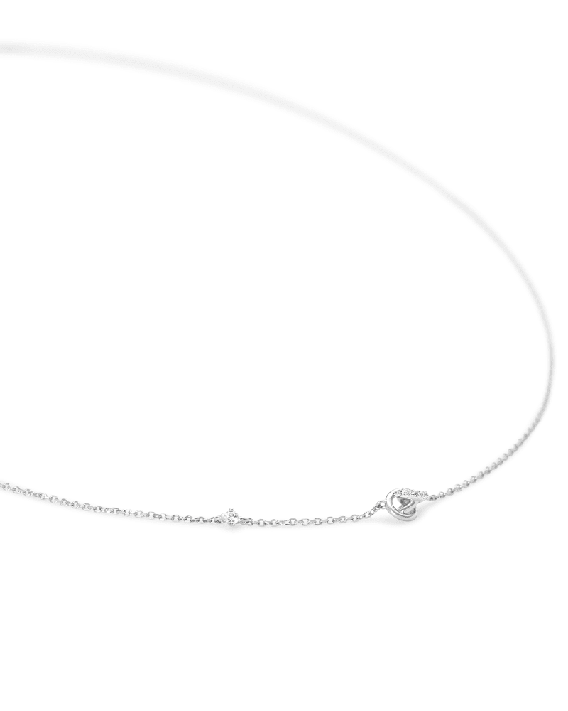 Love Knot 14K White Gold Short Pendant Necklace in White Diamond