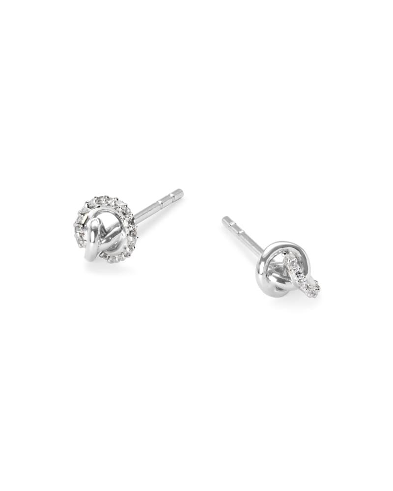Love Knot 14K Gold Stud Earring in White Diamond