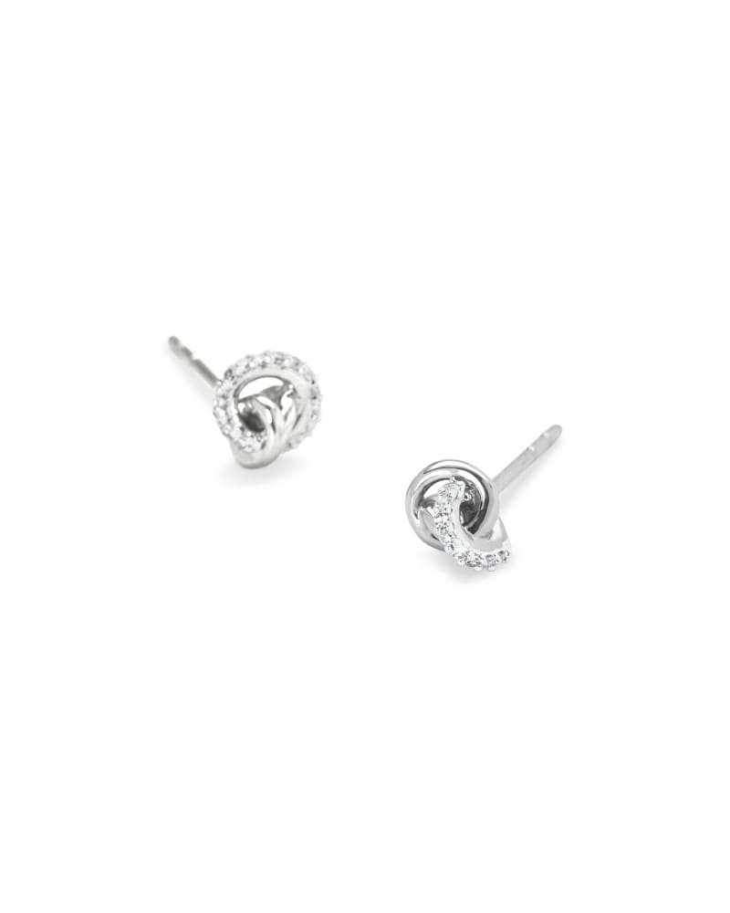 Love Knot 14K White Gold Stud Earring in White Diamond