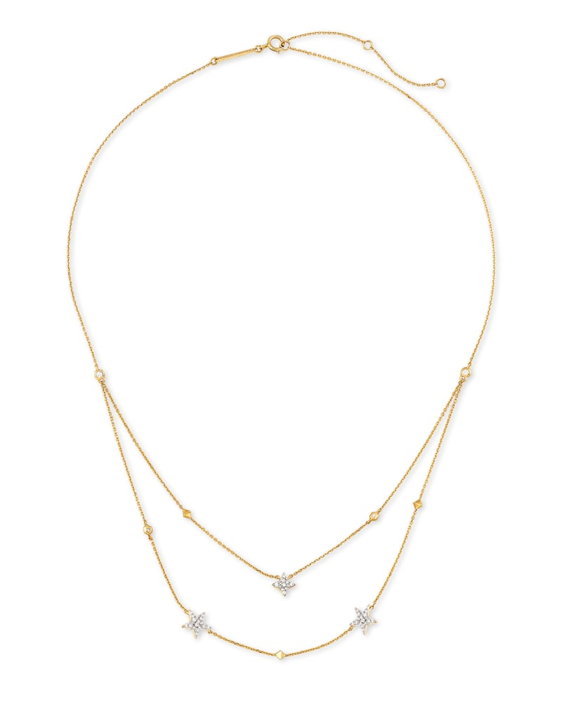 Star Cluster 14k Yellow Gold Multi Strand Necklace in White Diamonds