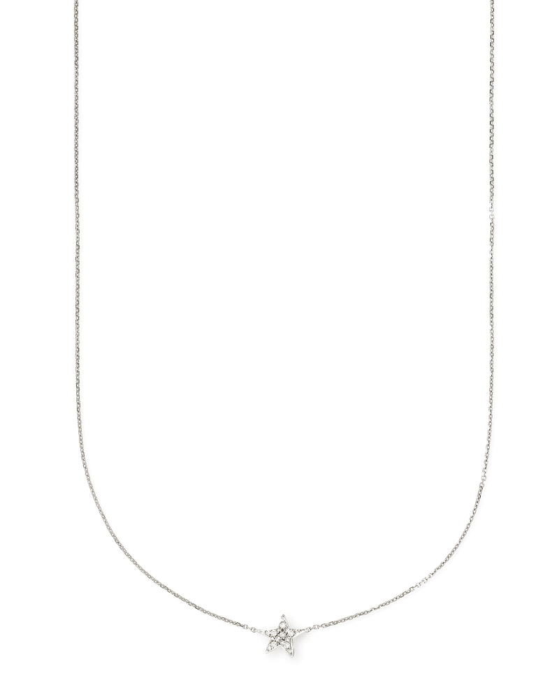 Star 14k White Gold Pendant Necklace in White Diamonds