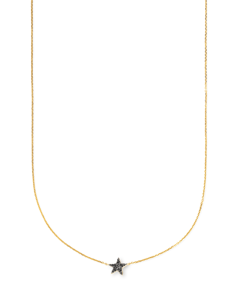 Star 14k Yellow Gold Pendant Necklace in Black Diamonds