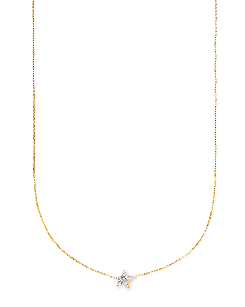 Star 14k Yellow Gold Pendant Necklace in White Diamonds