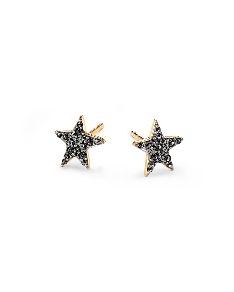 Star 14k Yellow Gold Stud Earrings in Black Diamonds