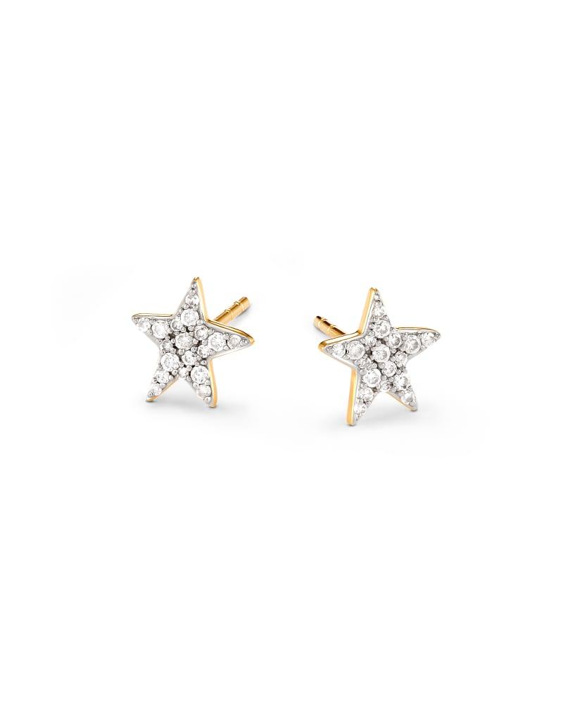 Star 14k Yellow Gold Stud Earrings in White Diamonds