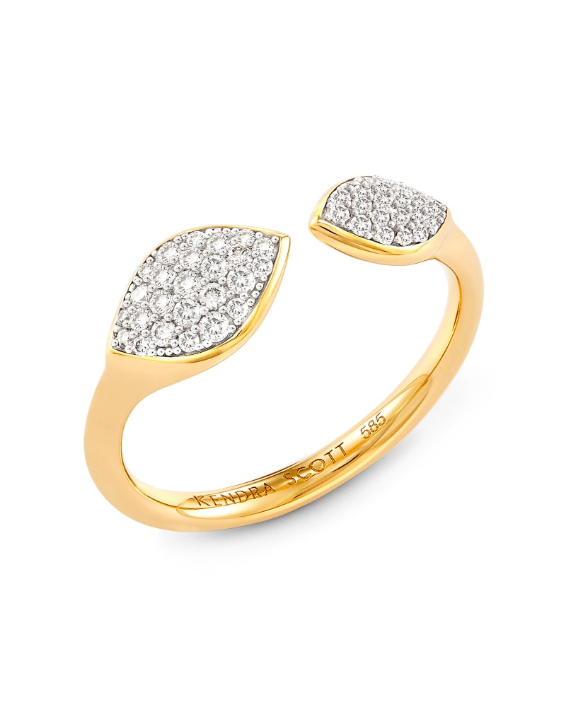 Adrian 14k Yellow Gold Open Ring in White Diamond