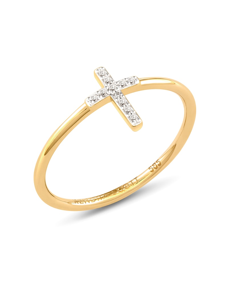 Cross 14k Yellow Gold Band Ring in White Diamond