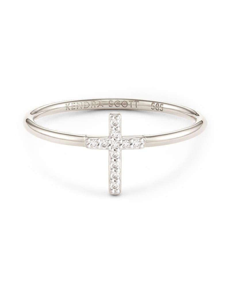 Cross 14k White Gold Band Ring in White Diamond