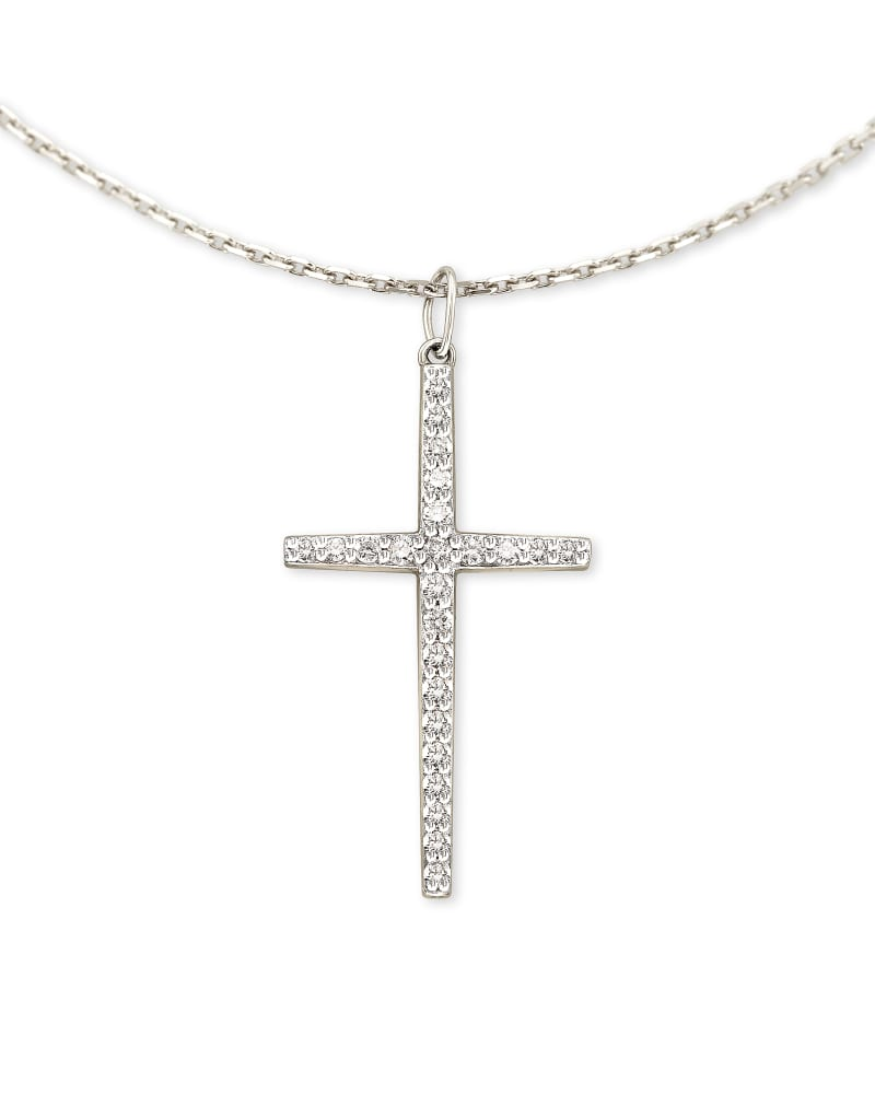 Large Cross 14k White Gold Pendant Necklace in White Diamond