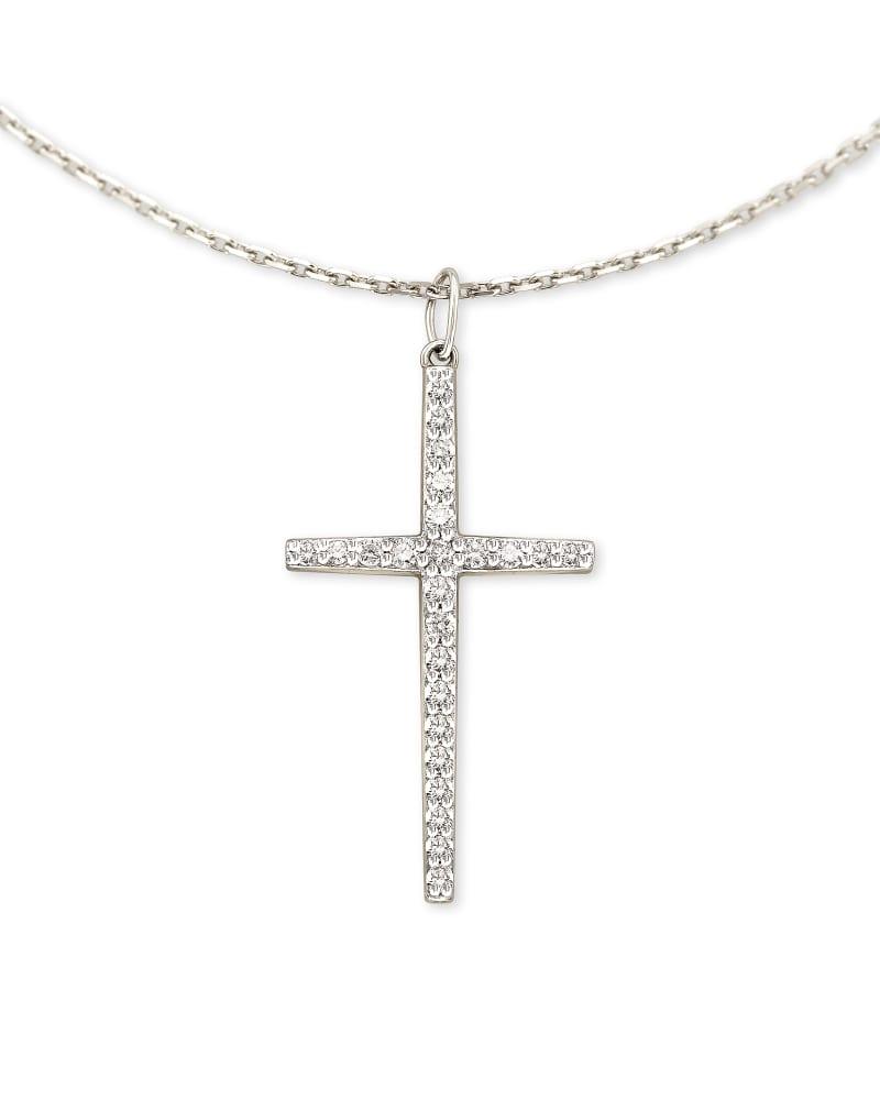 Large Cross 14k White Gold Pendant Necklace in White Diamond