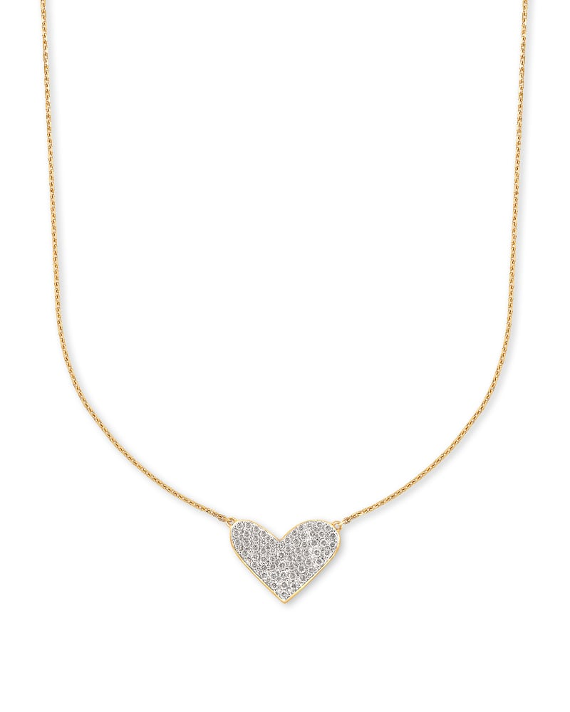Large Heart 14k Yellow Gold Pendant Necklace in White Diamond