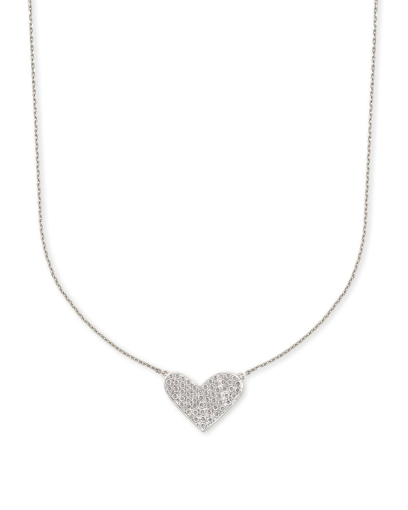 Large Heart 14k White Gold Pendant Necklace in White Diamond