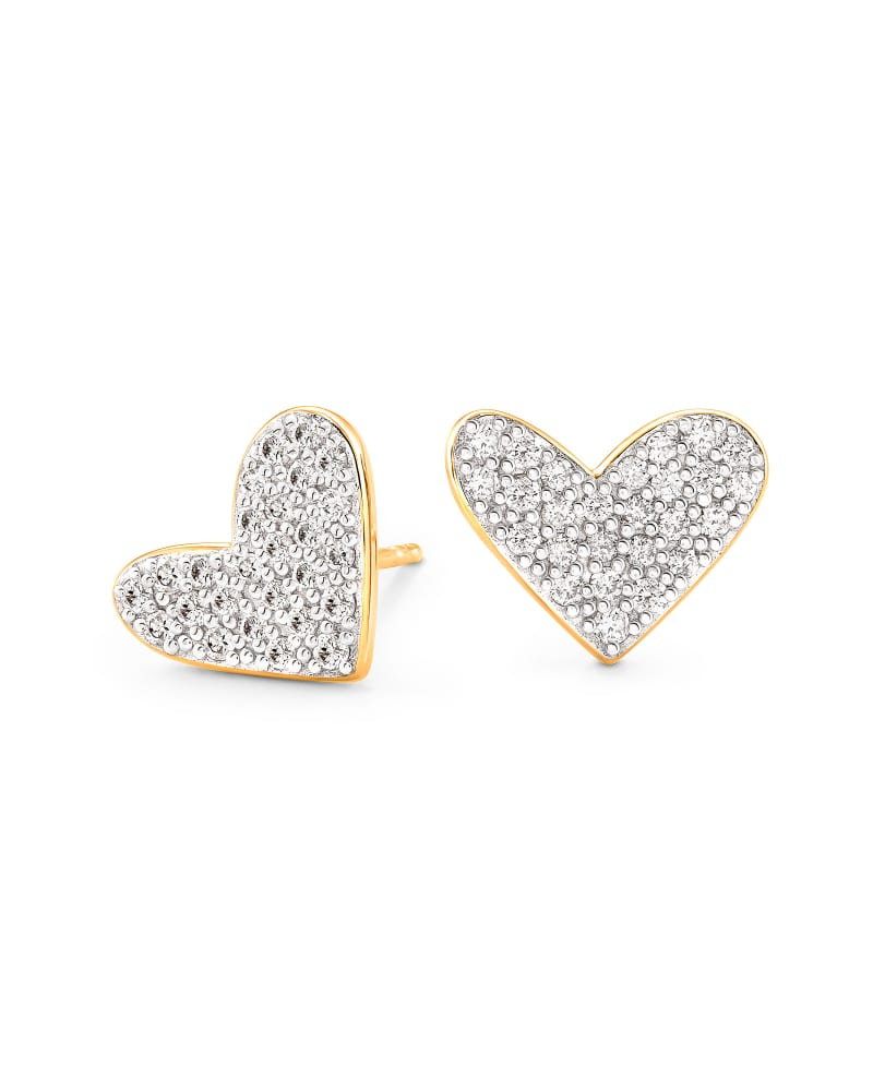 Large Heart 14k Yellow Gold Stud Earrings in White Diamond