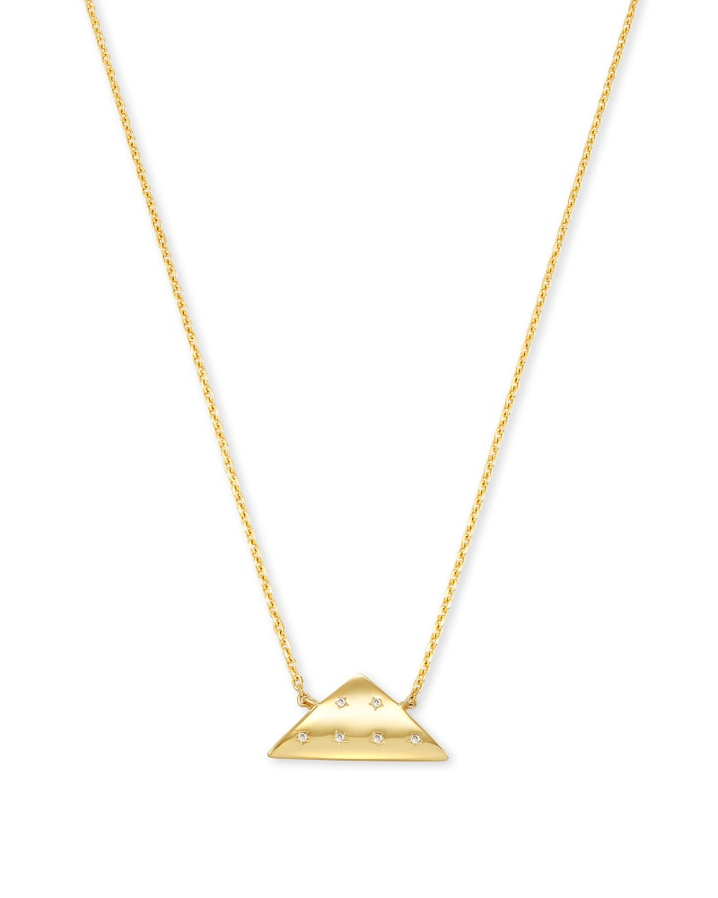 Folds Of Honor 14k Gold Pendant Necklace in White Diamond