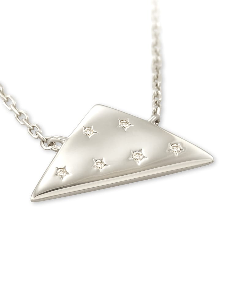 Folds Of Honor 14k White Gold Pendant Necklace in White Diamond