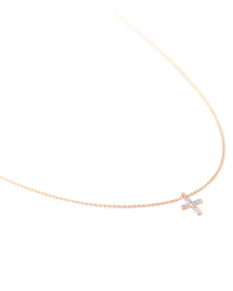 Cross 14K Rose Gold Pendant Necklace in White Diamond