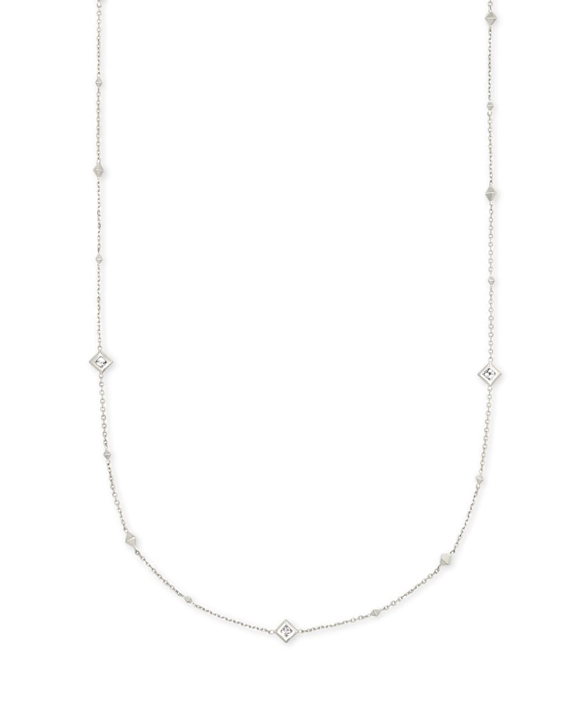 Michelle 14k White Gold Collar Necklace in White Diamond