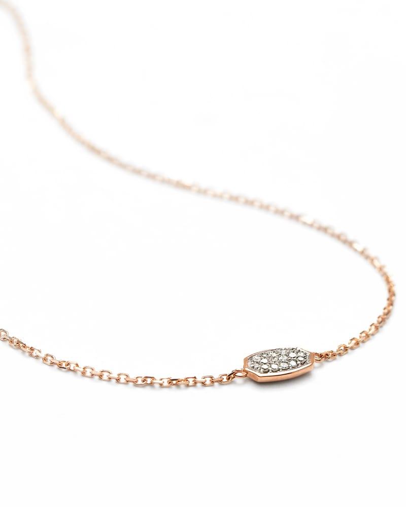 Millicent 14K Rose Gold Delicate Chain Bracelet in White Diamond