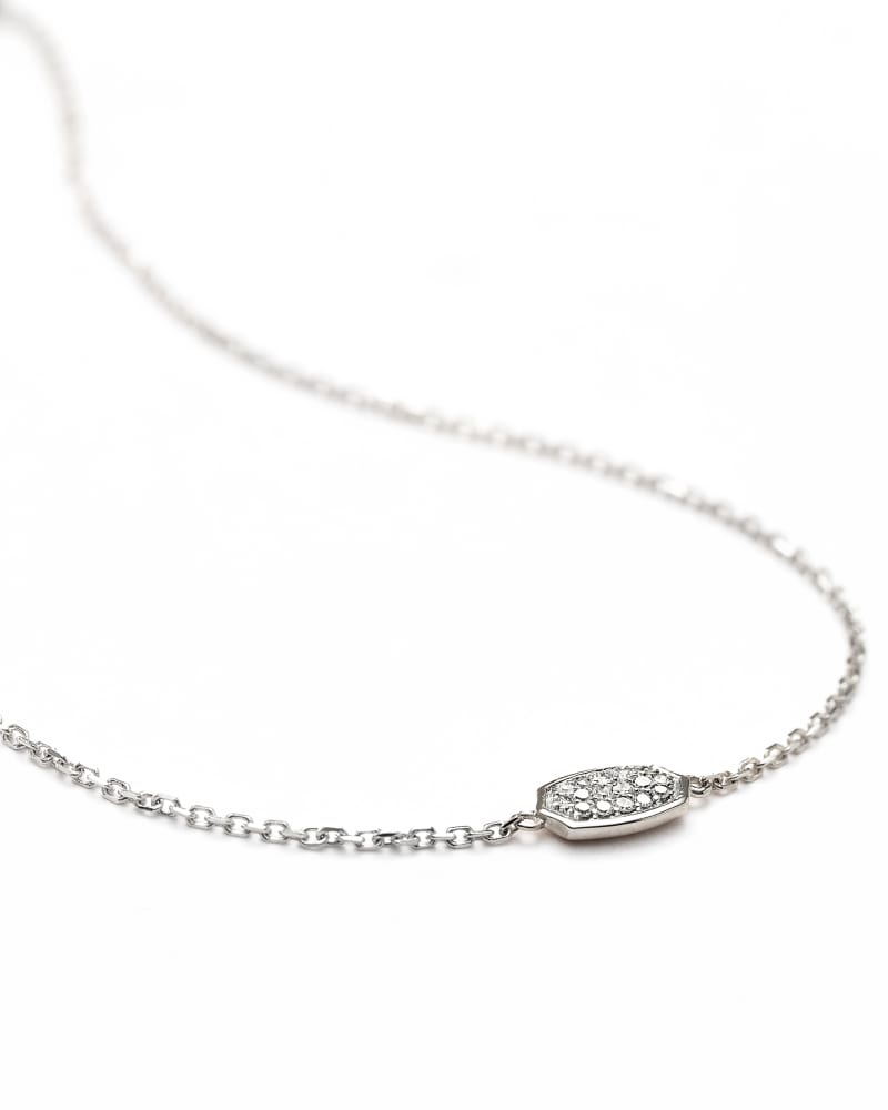 Millicent 14k White Gold Delicate Chain Bracelet in White Diamond