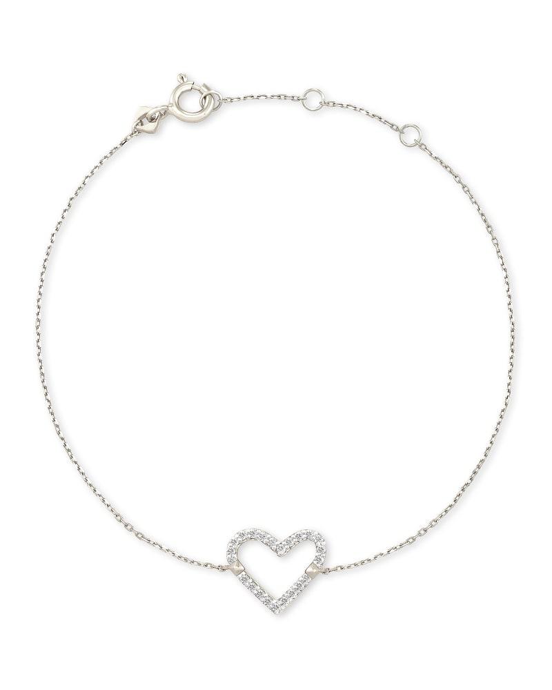 Open Heart 14k White Gold Delicate Bracelet in White Diamond