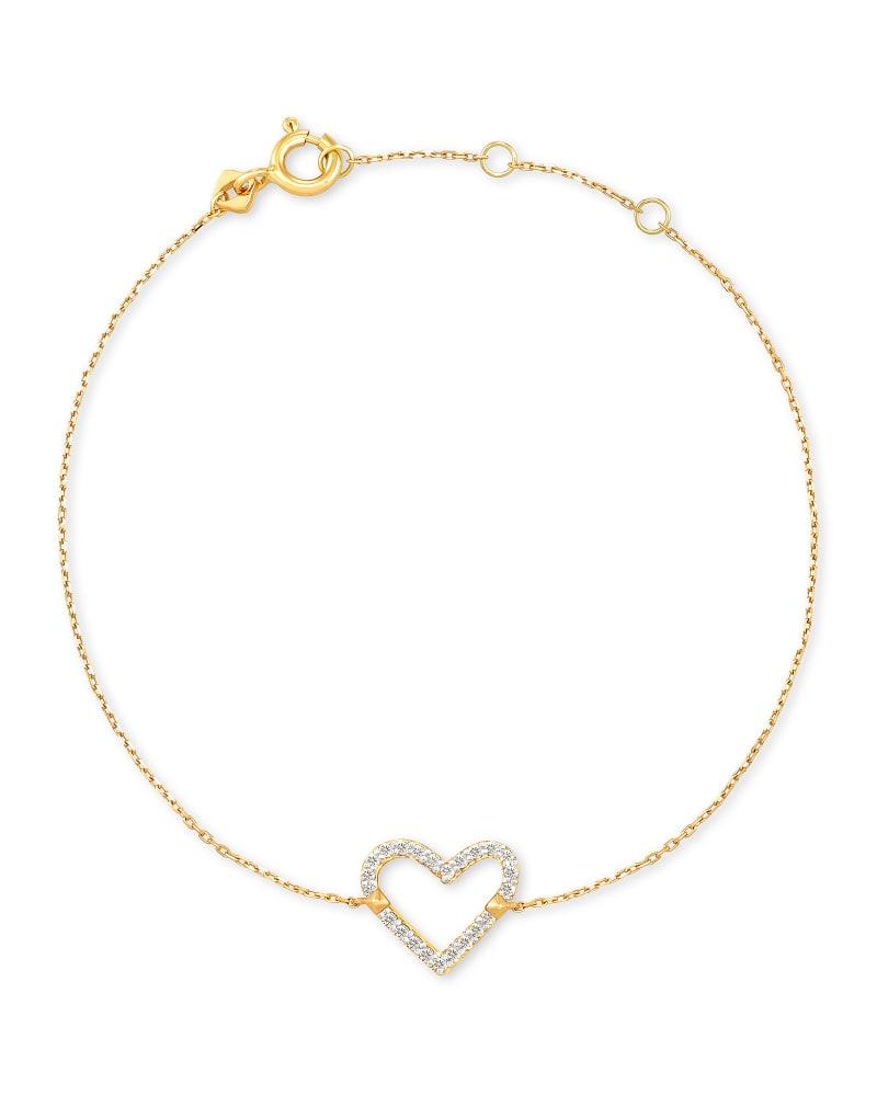 Open Heart 14k Yellow Gold Delicate Bracelet in White Diamond