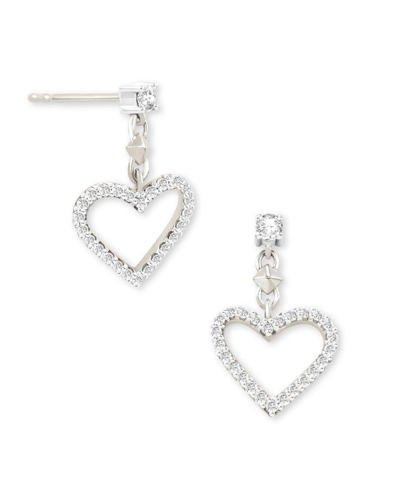 Open Heart 14k White Gold Drop Earrings in White Diamond