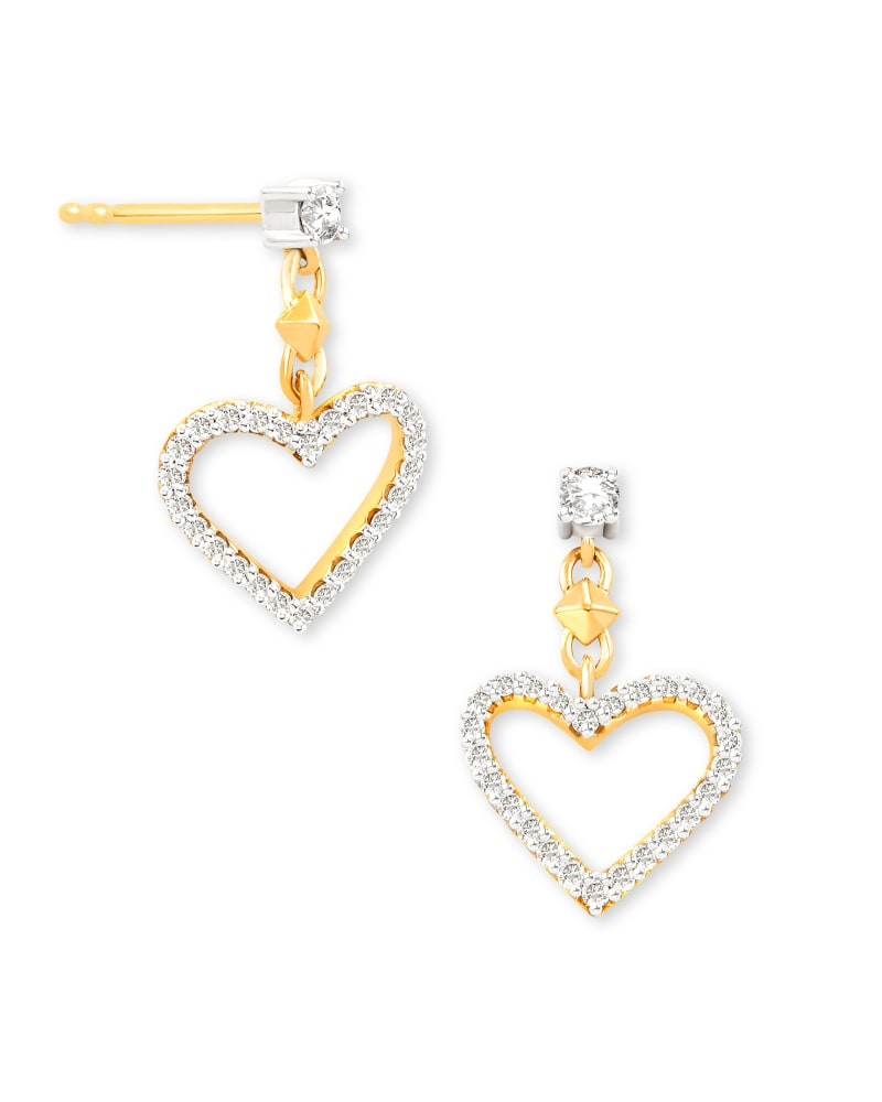 Open Heart 14k Yellow Gold Drop Earrings in White Diamond