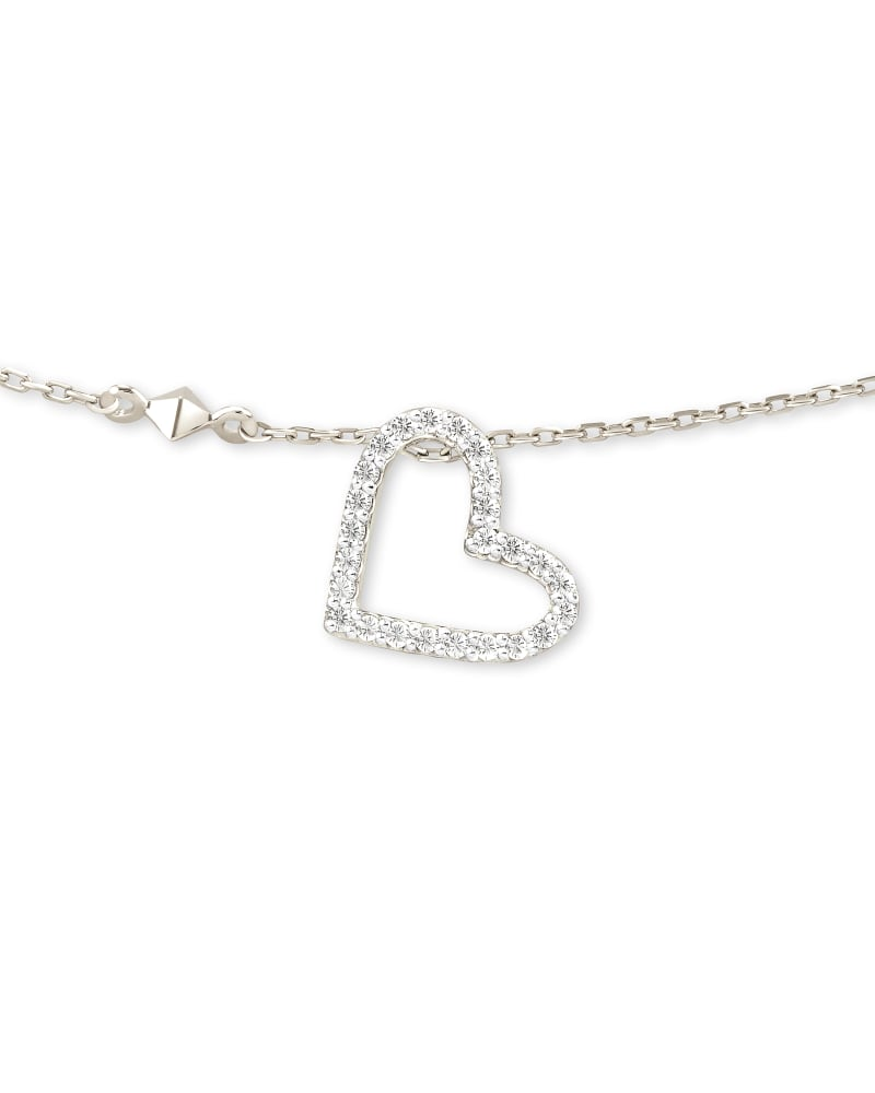 Open Heart 14k White Gold Pendant Necklace in White Diamond