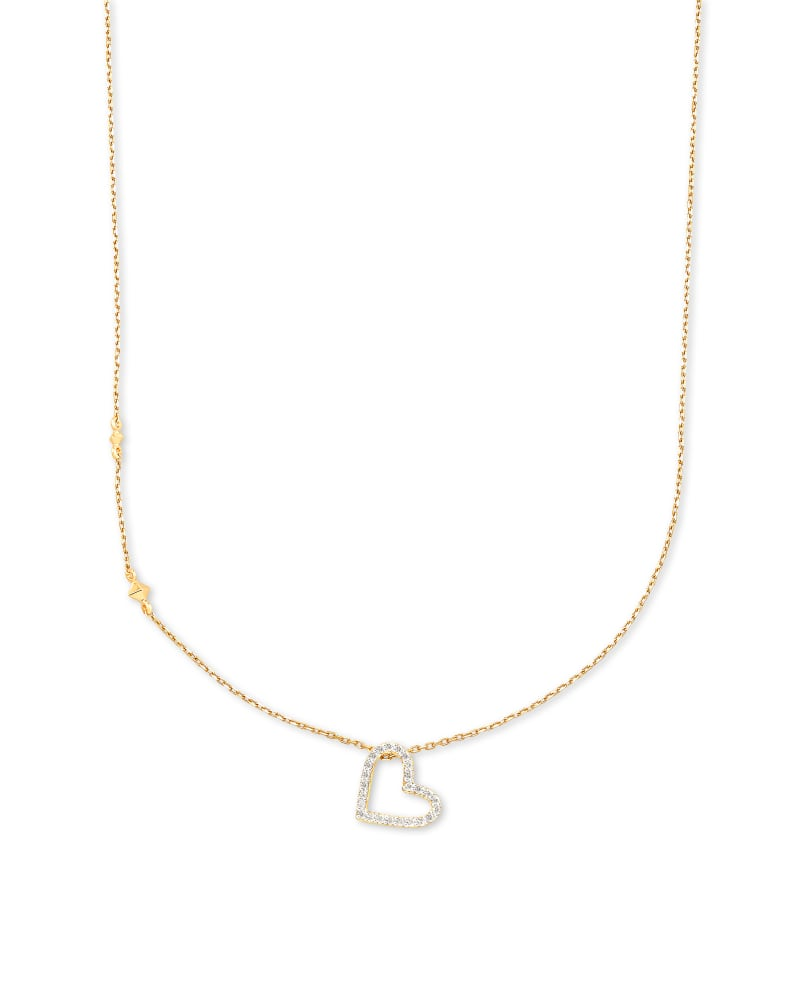 Open Heart 14k Yellow Gold Pendant Necklace in White Diamond