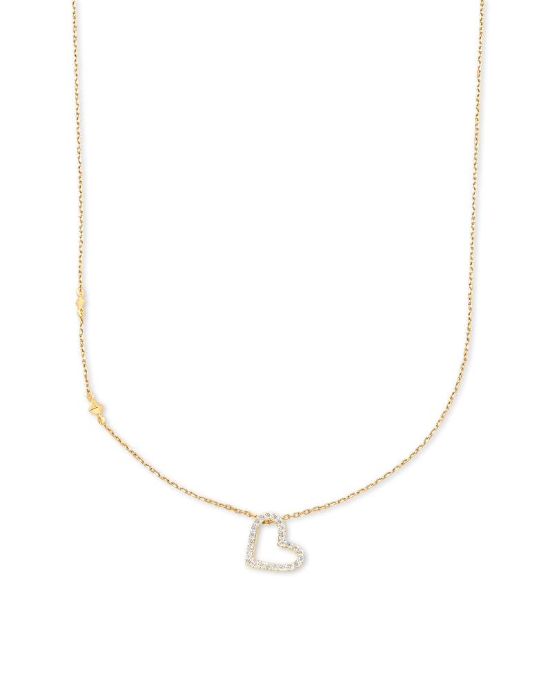 Open Heart 14k Yellow Gold Pendant Necklace in White Diamond | Kendra Scott