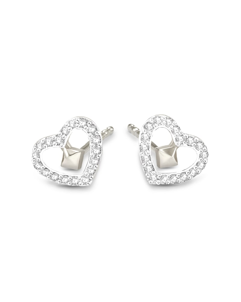 Open Heart 14k White Gold Stud Earrings in White Diamond