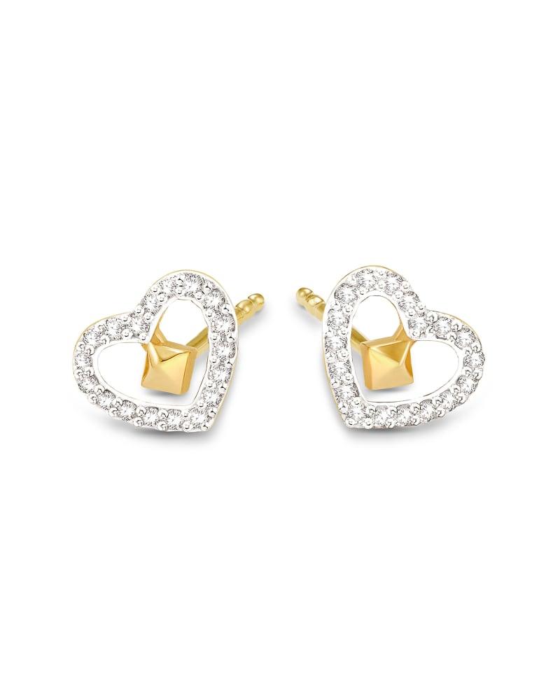 Open Heart 14k Yellow Gold Stud Earrings in White Diamond