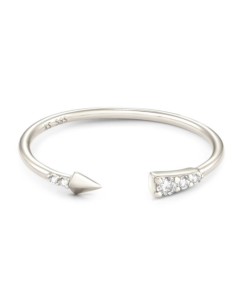 Arrow Open Ring in White Diamond