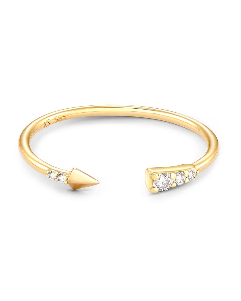 Arrow 14k Yellow Gold Open Ring in White Diamond