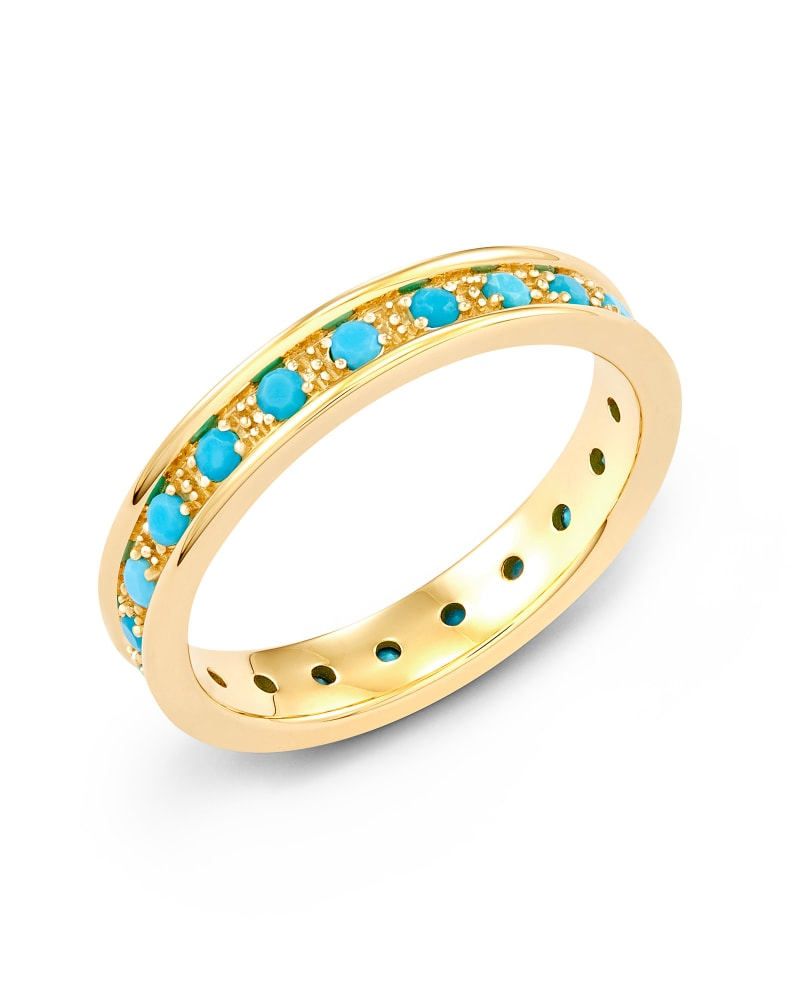 Drew 14k Yellow Gold Band Ring in Genuine Turquoise
