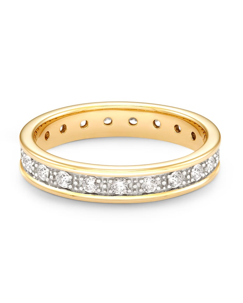 Drew 14k Yellow Gold Band Ring in White Diamond