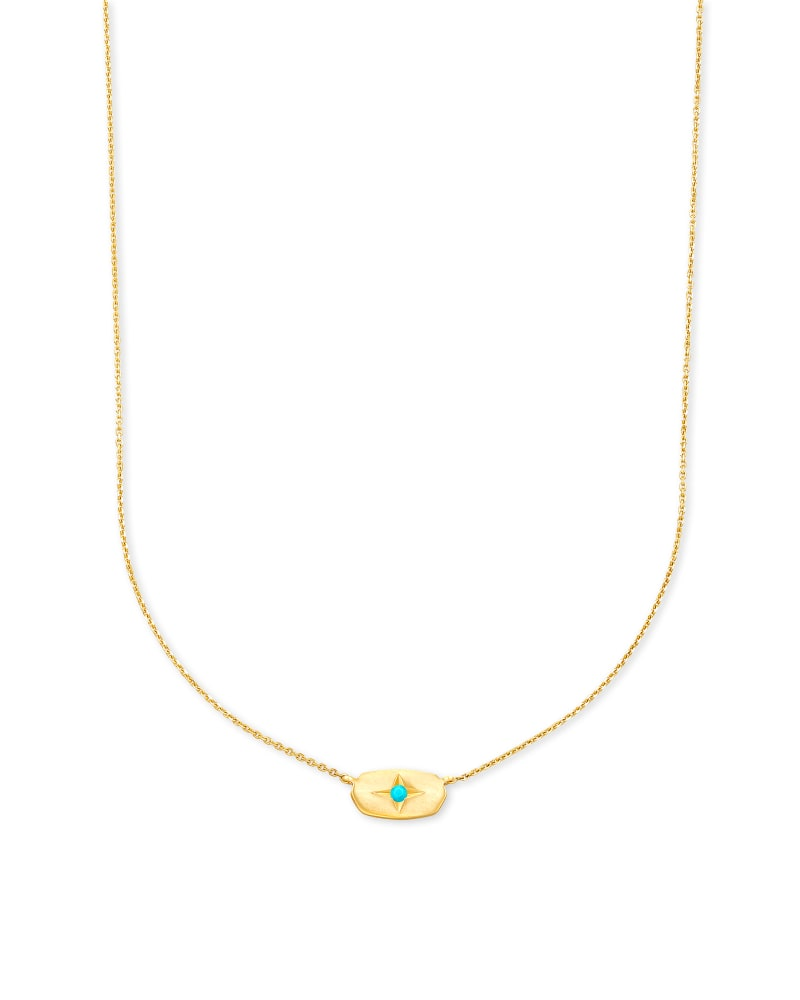 Fern 14k Yellow Gold Pendant Necklace in Genuine Turquoise
